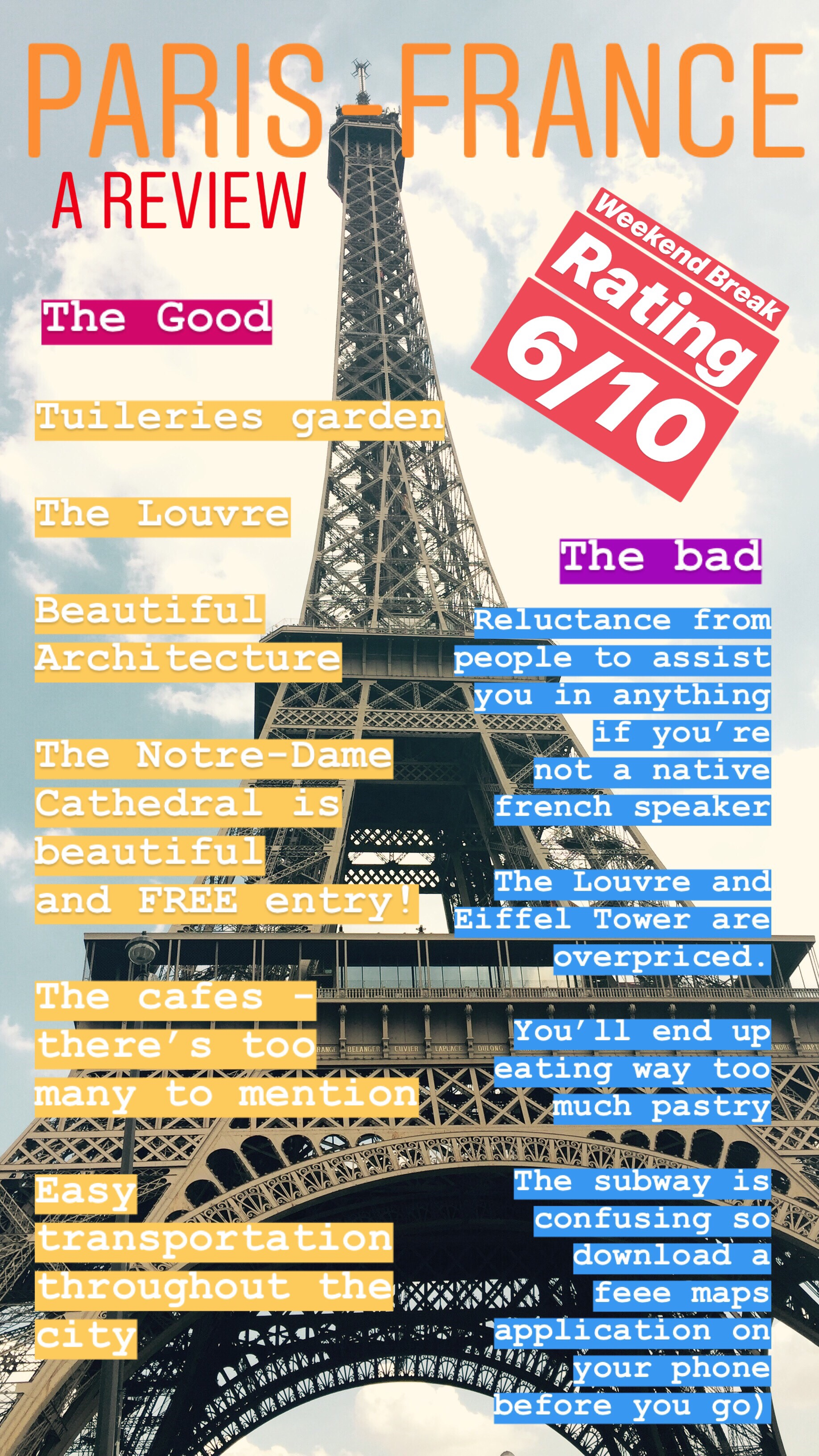 Review of backpacking in France Paris