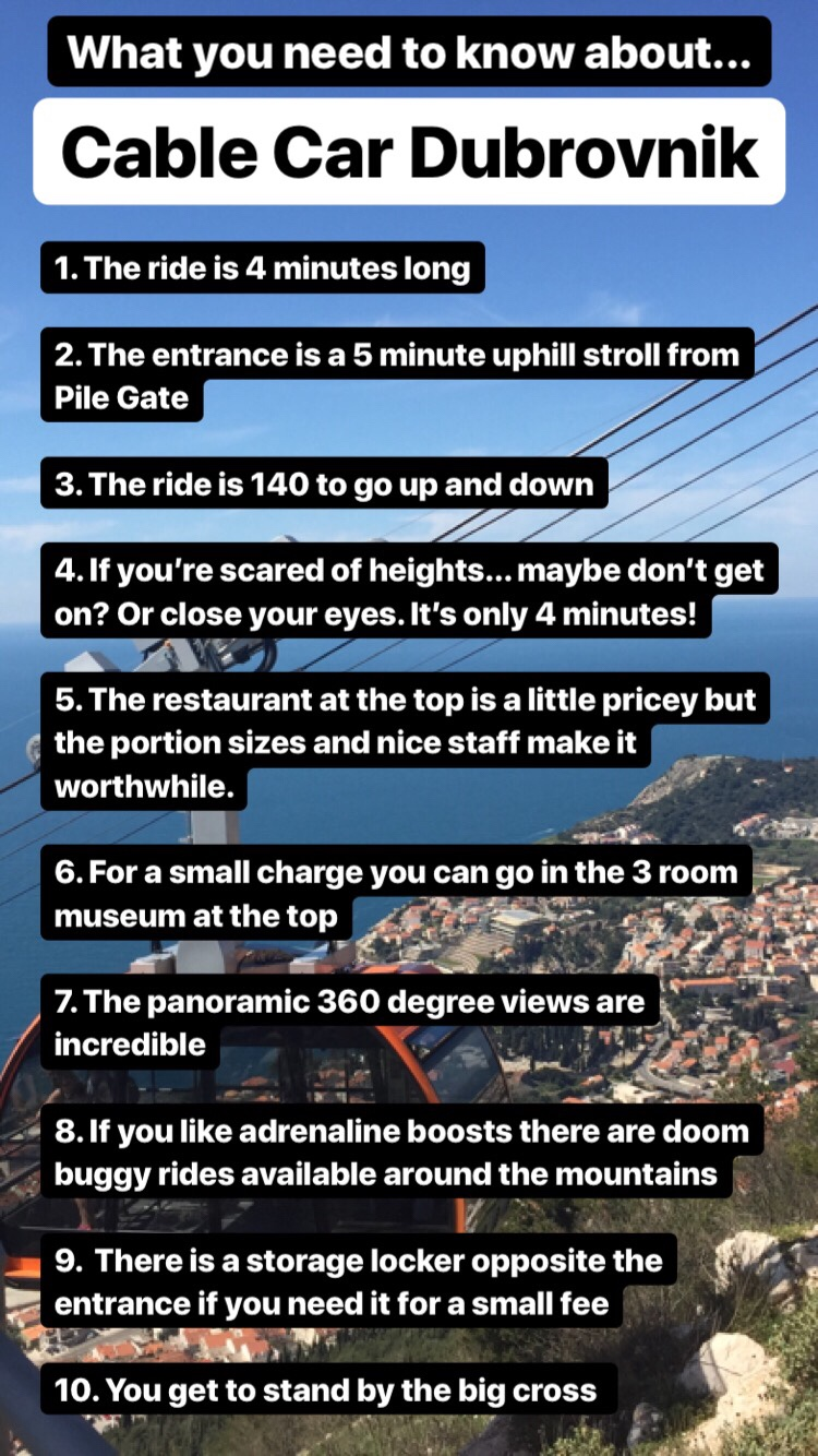Why you should use the cable car in Dubrovnik. Information about the cable dar in Croatia and it's service information