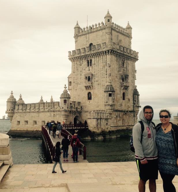 Couple stood in front of Belem tower