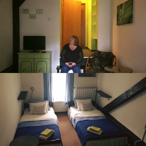 Secret garden hostel in Krakow Poland room with twin bed and green cupboards.