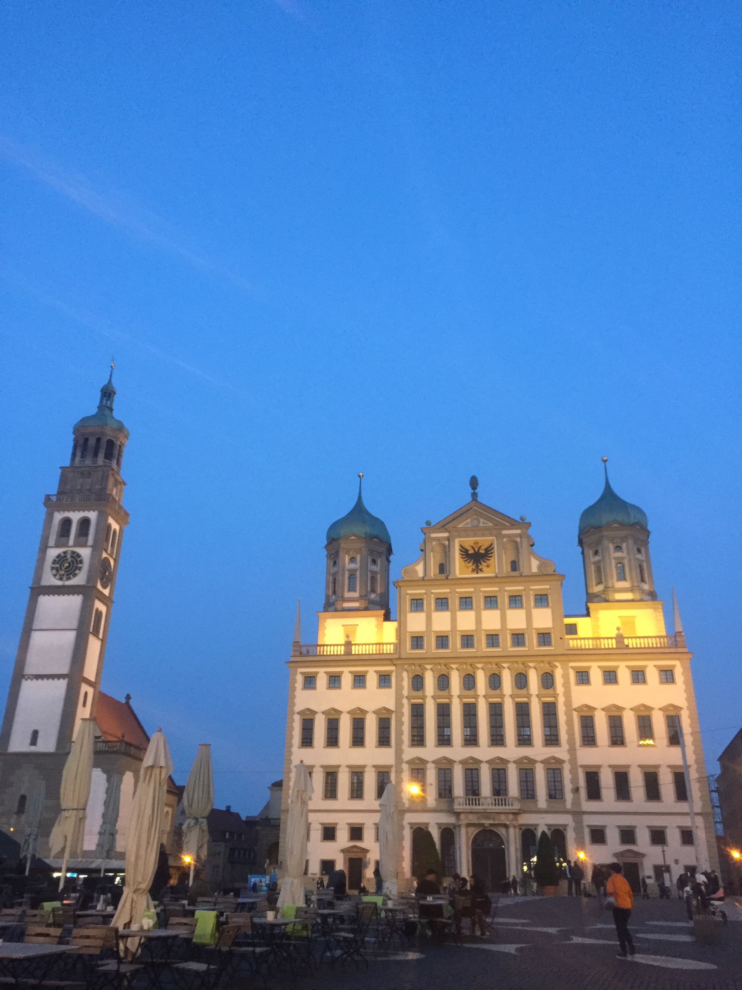 Augsburg the square Town Hall and watch tower at night
