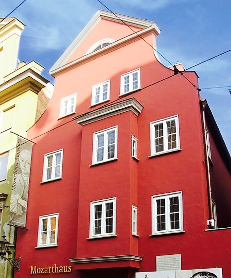 Mozarthaus augsburg Germany red museum front. Composer mozart's father was born here.