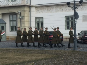 Soldiers display at Buda Castle.