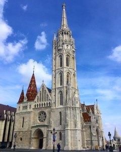 Matthias church from the outside you can see the white spires and mosaic roof