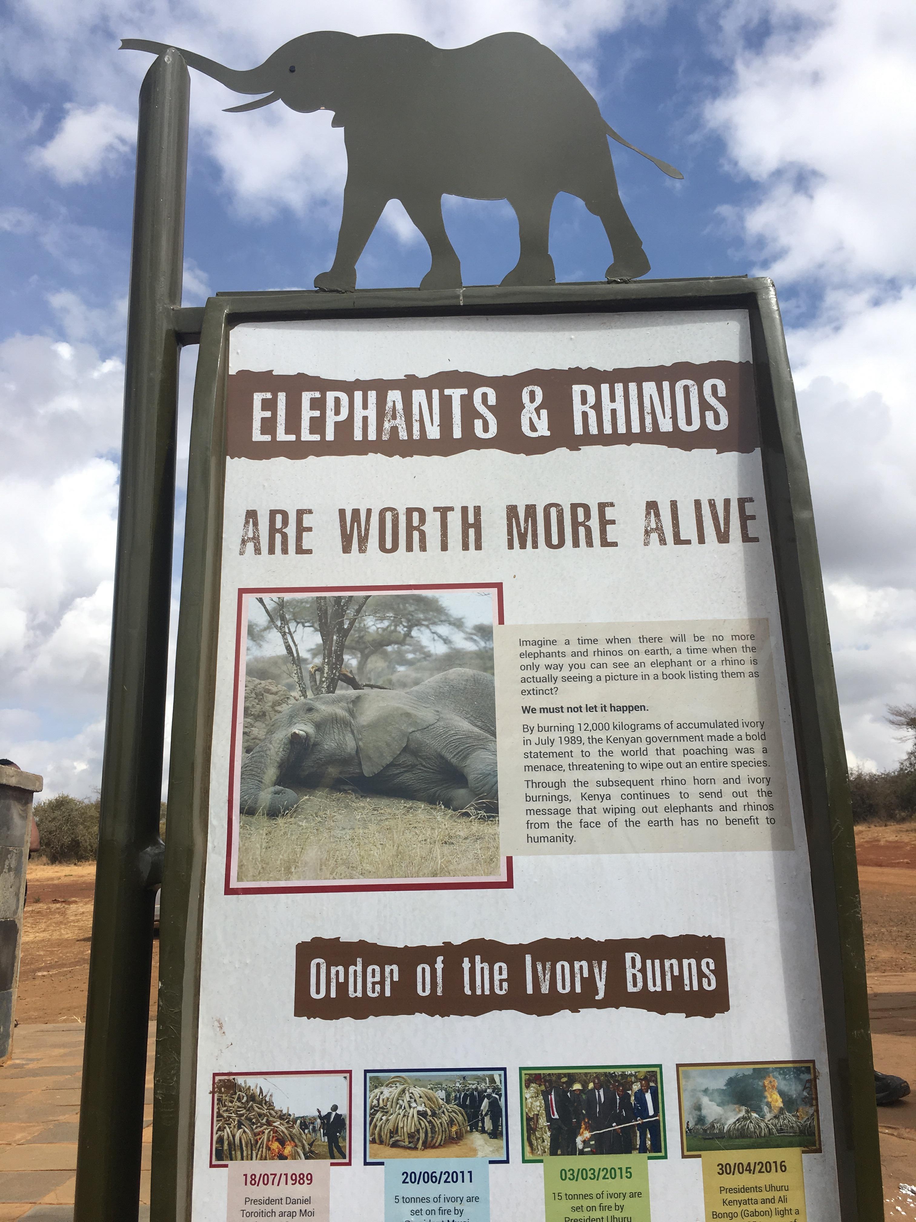 End ivory poaching. Kenya sign in Nairobi national park.
