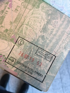 Passport stamp from luxembourg