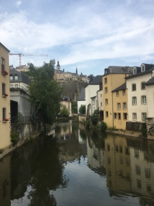 The grund in luxembourg. Water reflects the trees
