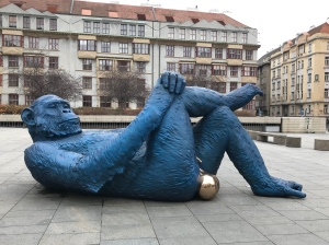 Blue chimp with golden balls