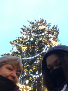 Warm by the Christmas tree in Prague